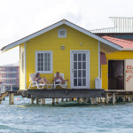Tpische Häuser von Bocas del Toro. Ins Wasser gebaut.