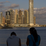 Panama City Skyline im Sonnenuntergang